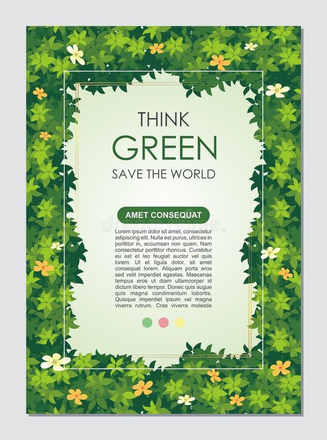 Iść Zieloną, sztandar broszura, Oprócz natury ulotki, lub royalty ilustracja