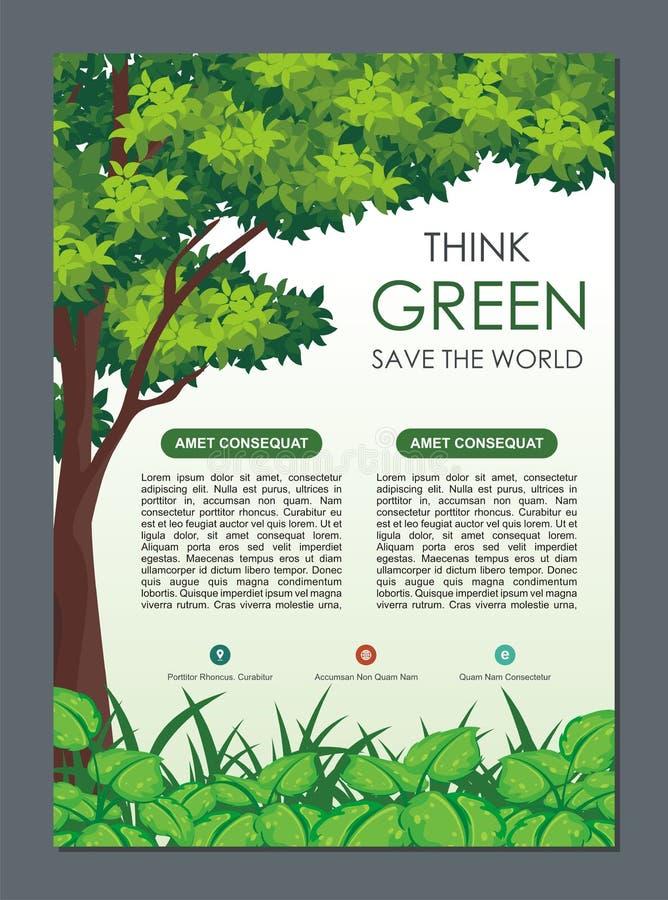 Iść Zieloną, sztandar broszurka, Oprócz natury ulotki, lub ilustracji