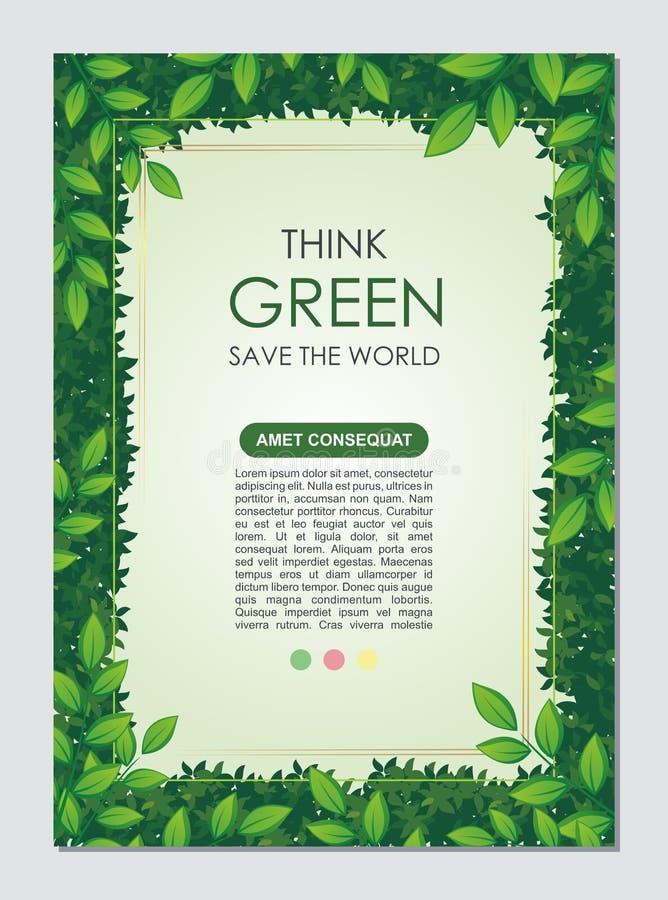 Iść Zieloną, sztandar broszurka, Oprócz natury ulotki, lub ilustracja wektor