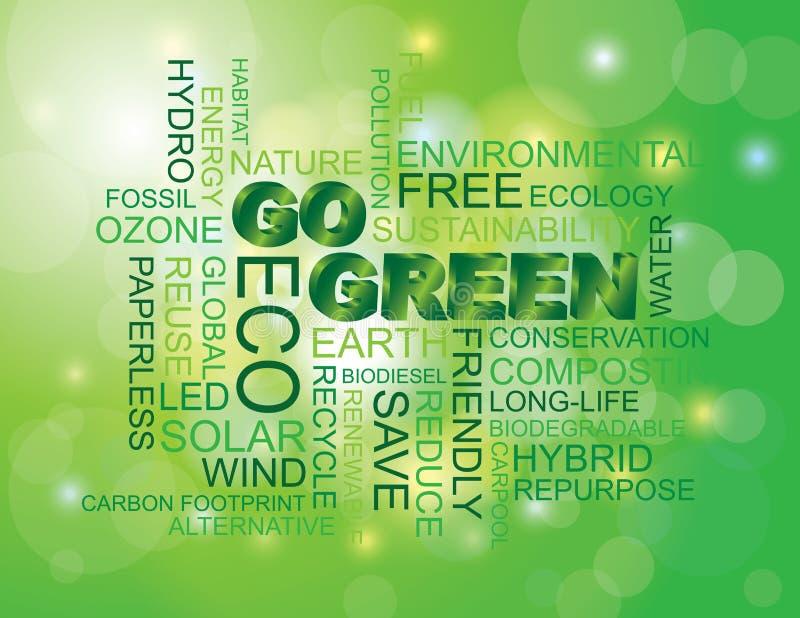 Iść Zielony słowa chmury zieleni tło royalty ilustracja