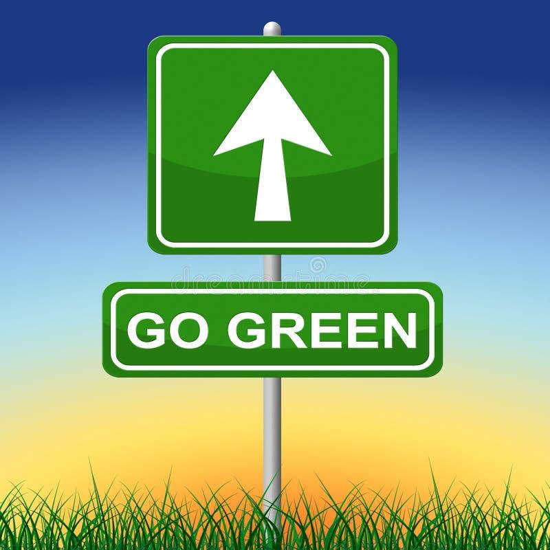 Iść Zielony Wskazuje Ziemskiego dzień I strzała ilustracja wektor
