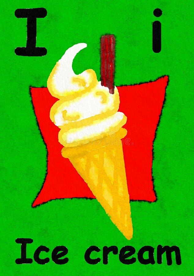I è per il gelato Impari l'alfabeto e l'ortografia illustrazione vettoriale