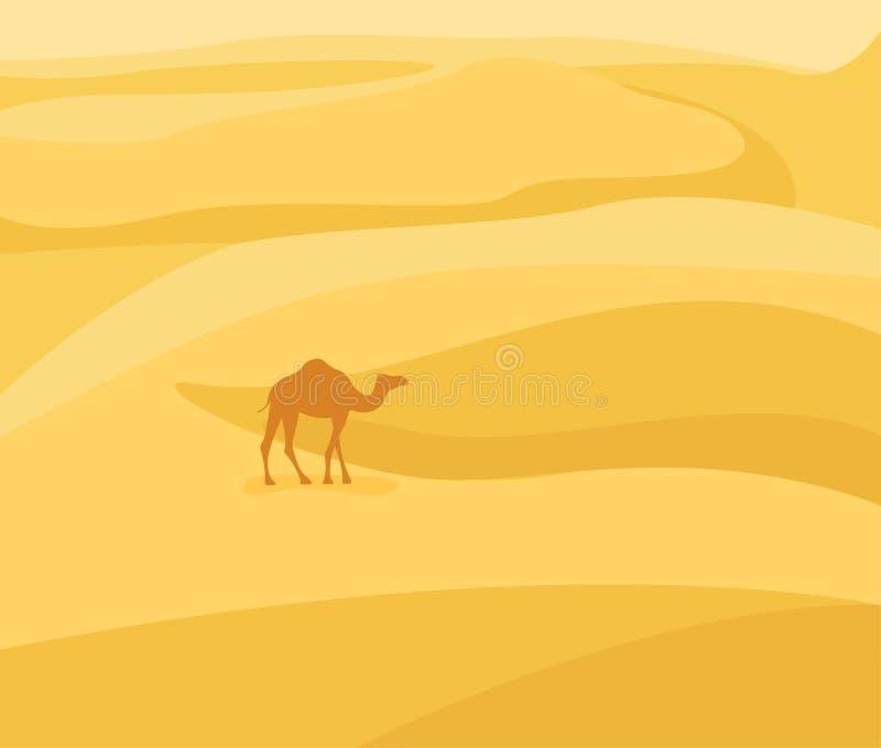 In i öknen: Ökenlandskap Kamelkontur på sandbakgrund Vektorillustration i plan stil vektor illustrationer