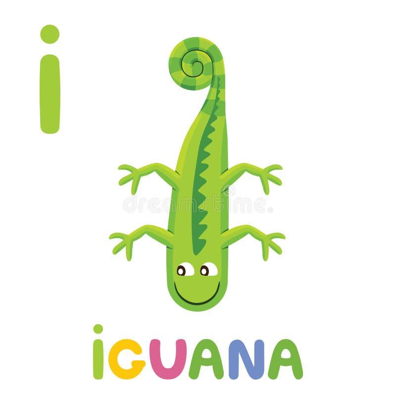I для игуаны Письмо i Игуана, милая иллюстрация белизна вектора фоновых изображений алфавита животная бесплатная иллюстрация