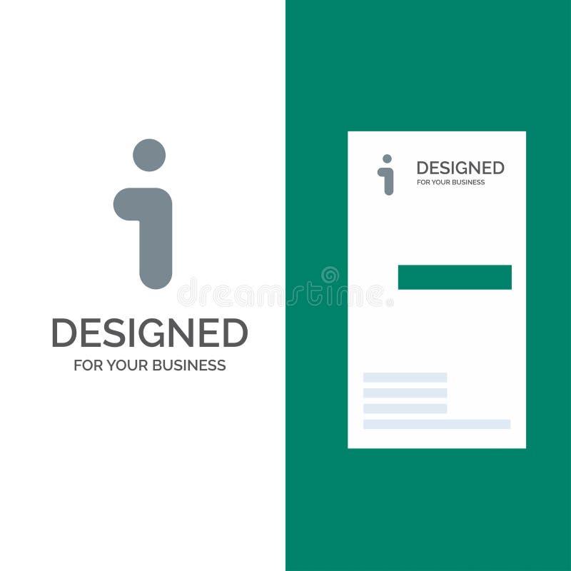 I, информация, информация, дизайн логотипа интерфейса серые и шаблон визитной карточки иллюстрация штока