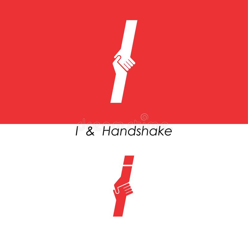 I - Пометьте буквами абстрактный значок & вручите шаблон вектора дизайна логотипа Чай иллюстрация вектора