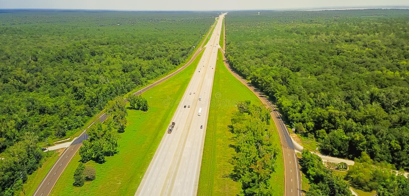I-10从得克萨斯的高速公路全景空中水平的视图Lo的 免版税图库摄影