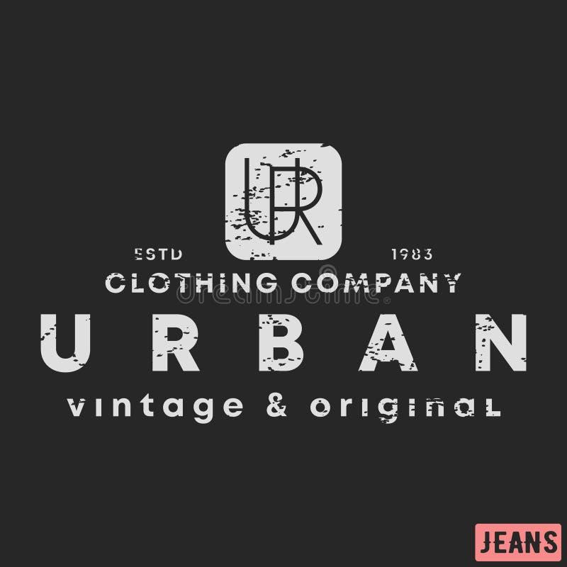 i 都市衣物葡萄酒邮票 打印和徽章,补花,标签,标记T恤杉,牛仔裤,偶然和都市 向量例证