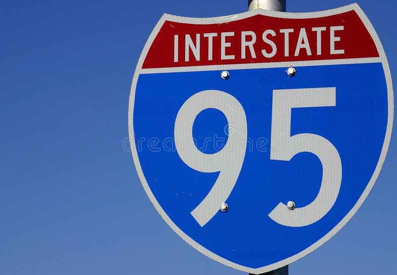 I-95 Sign_RJ - identificación: TrafficSign00009 imágenes de archivo libres de regalías