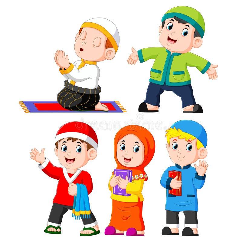 i activies quotidiani differenti che i bambini che fanno solitamente illustrazione di stock