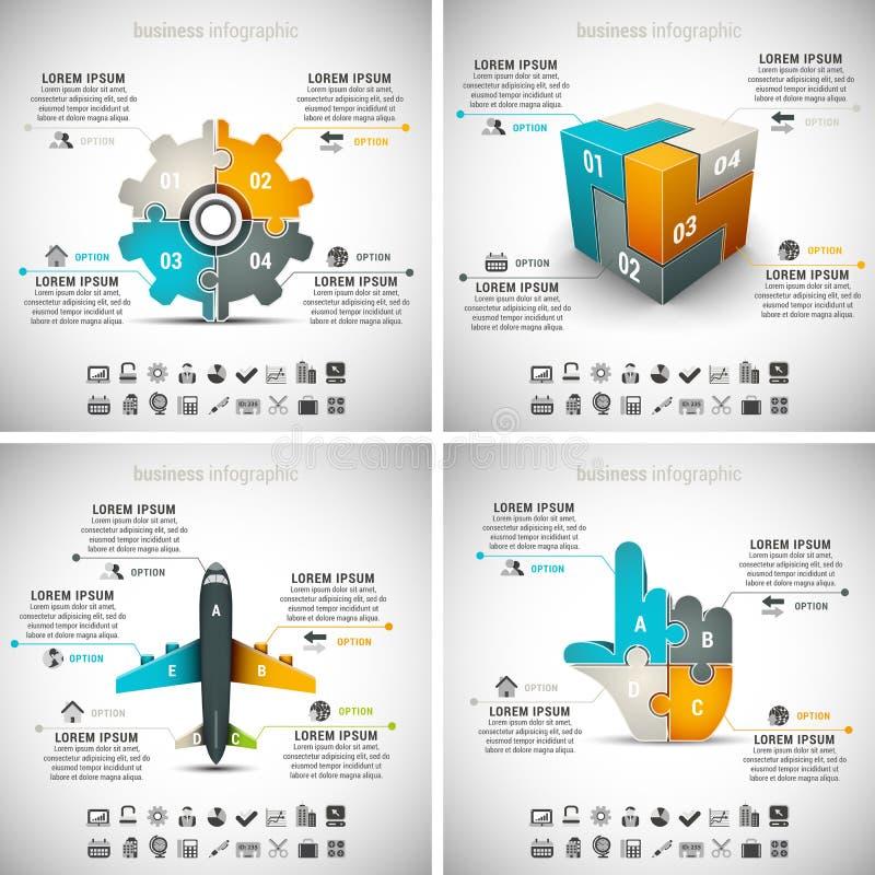 4 i 1 affär Infographics royaltyfri illustrationer