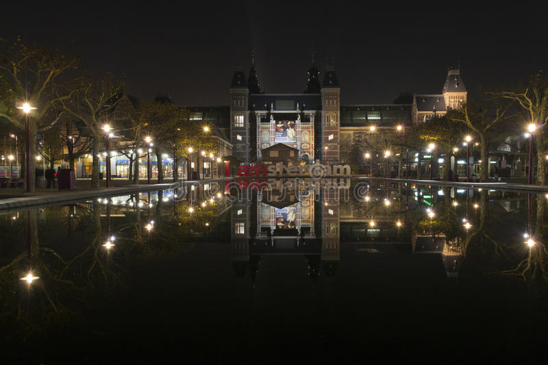 Download I Amsterdam In Front Of Rijksmuseum Stock Image - Image of illuminated, monument: 22089007