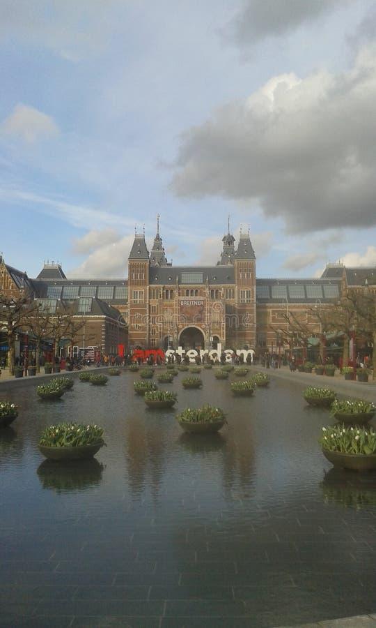 I AMsterdam. Amsterdam Rijksmuseum Frühling I AMsterdam Architektur Wasser royalty free stock image