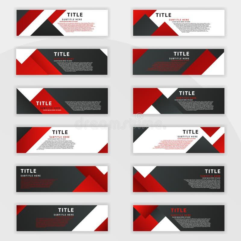 i andra hand en uppsättning av röda baner med 12 designer som planläggs för online-behov, liksom bennerwebsiten, socialt massmedi royaltyfri illustrationer