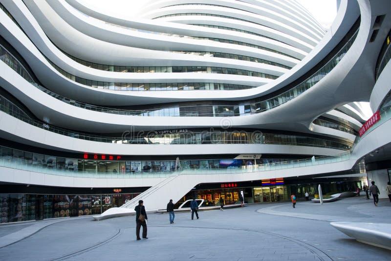 I Asien Kina, Peking, SOHO, Vintergatan, modern arkitektur royaltyfri bild