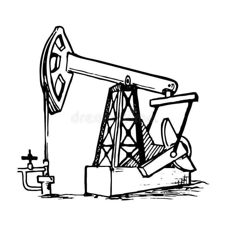 i Błękitnej flaga czerwony tło Pumpjack jest overground przejażdżką dla odwzajemnia tłokowej pompy w szybie naftowym ilustracja wektor