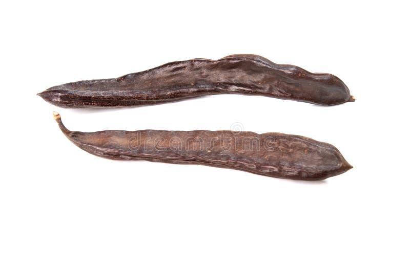 I baccelli fragranti della vaniglia isolati su bianco immagine stock