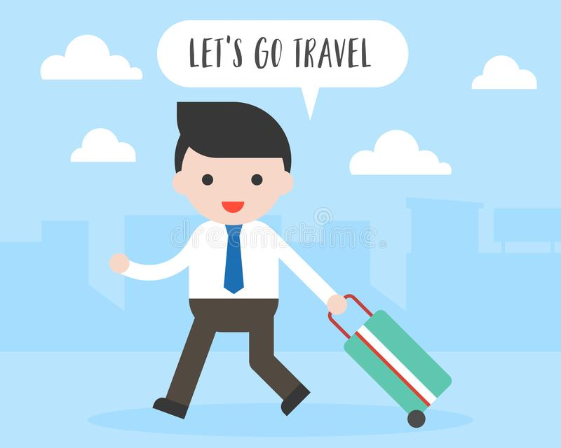 I bagagli di viaggio di tirata dell'uomo di affari, let's vanno concetto di viaggio illustrazione vettoriale