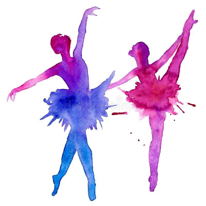 I ballerini di balletto ballerini Isolato su una priorità bassa bianca Illustrazione dell'acquerello illustrazione vettoriale