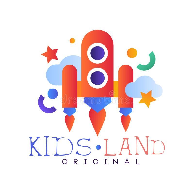 I bambini atterrano il modello originale e creativo di logo del club dell'etichetta, il campo da giuoco, lo spettacolo o il disti royalty illustrazione gratis