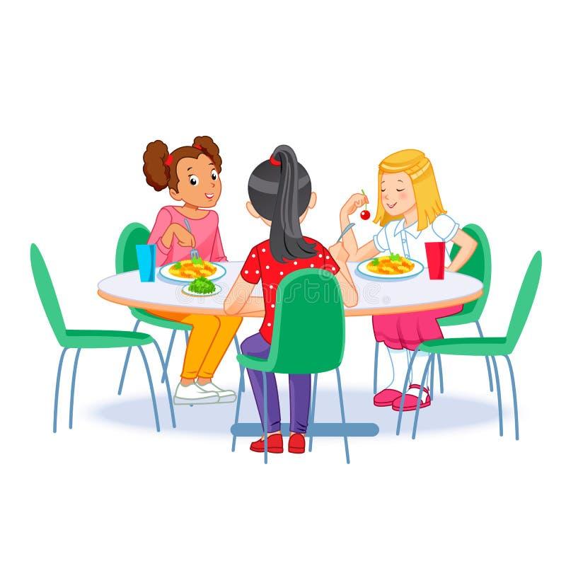 I bambini che fanno colazione Bambini felici che fanno colazione da soli Illustrazione vettoriale per banner, poster immagini stock