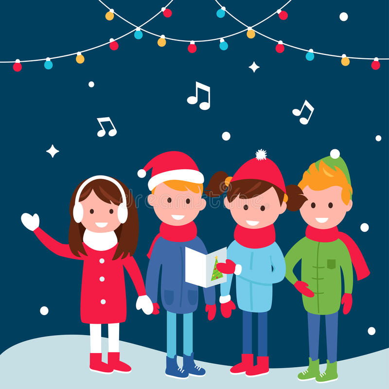 I bambini che portano i cappotti caldi dell'inverno cantano i canti natalizii sulla notte di Natale illustrazione vettoriale