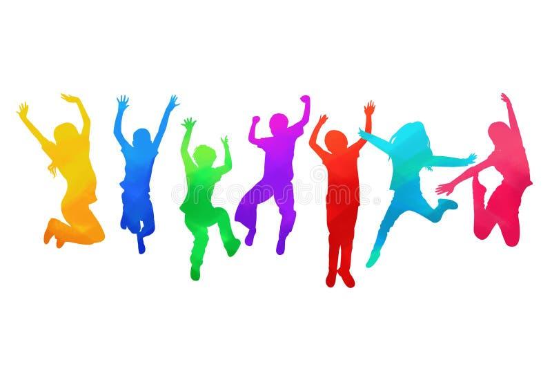 I bambini che saltano con la gioia illustrazione di stock