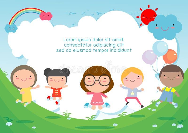 I bambini che saltano sul campo da giuoco, bambini saltano con la gioia, bambino felice del fumetto che gioca sul fondo illustrazione vettoriale