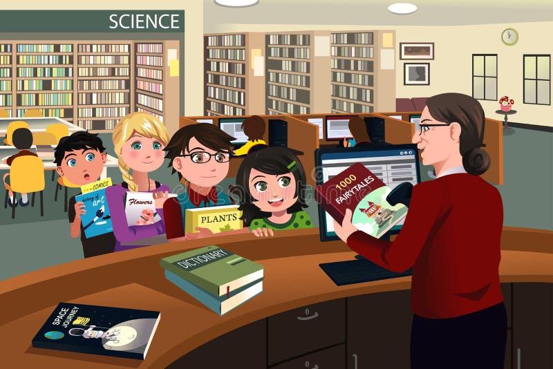 I bambini che verificano prenota nella biblioteca illustrazione vettoriale