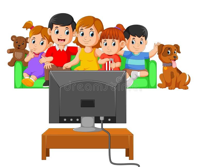 I bambini con i loro genitori stanno guardando insieme la televisione illustrazione di stock