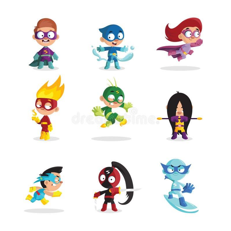 I bambini in costumi variopinti del supereroe hanno messo, illustrazioni divertenti di vettore del fumetto dei caratteri delle ra illustrazione di stock