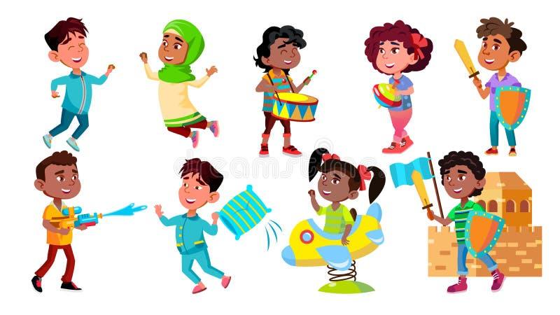 I bambini del carattere si rallegrano e giocando il vettore stabilito illustrazione vettoriale