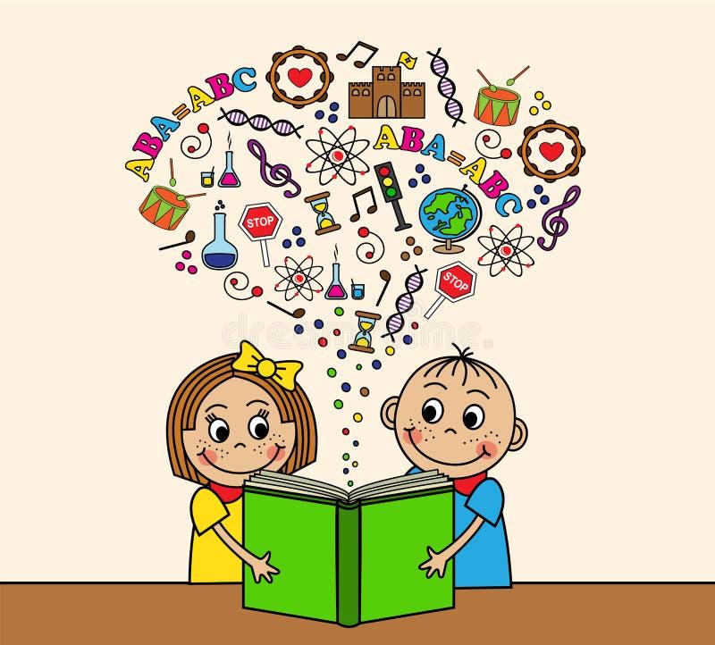 I bambini del fumetto hanno letto un libro illustrazione di stock
