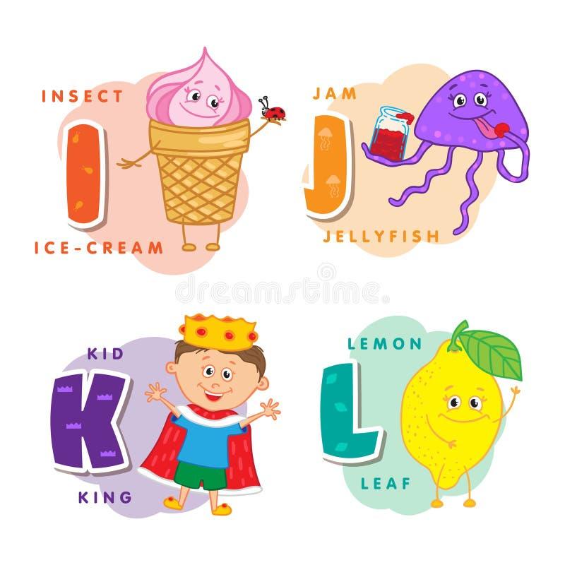 I bambini dell'alfabeto hanno colorato la lettera I J K L illustrazione vettoriale