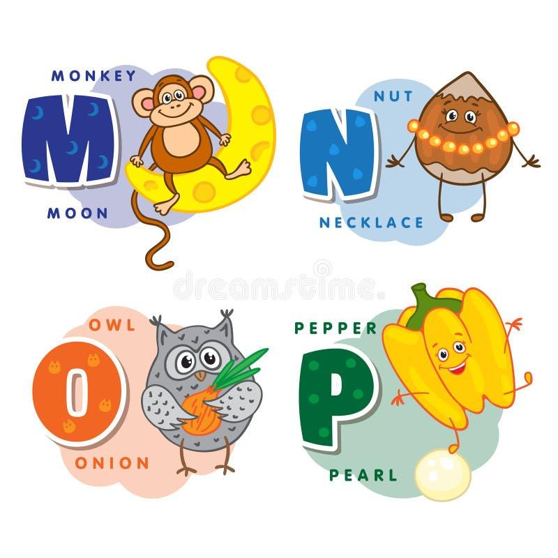 I bambini dell'alfabeto hanno colorato la lettera la m. LA N la O P illustrazione vettoriale
