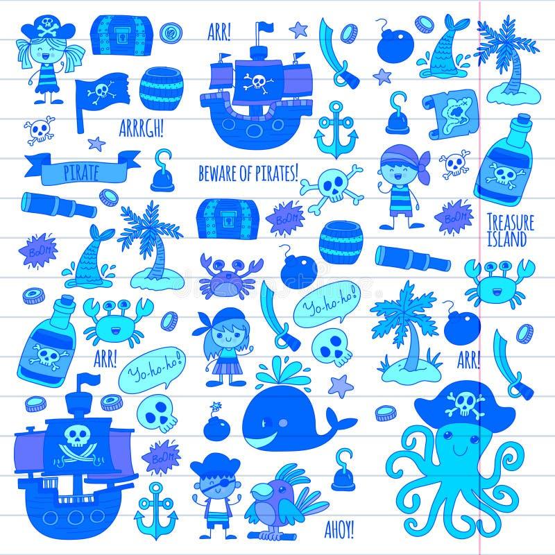 I bambini dell'illustrazione del fumetto dei bambini dei pirati di vettore che disegnano lo stile per i bambini fanno festa in po illustrazione vettoriale