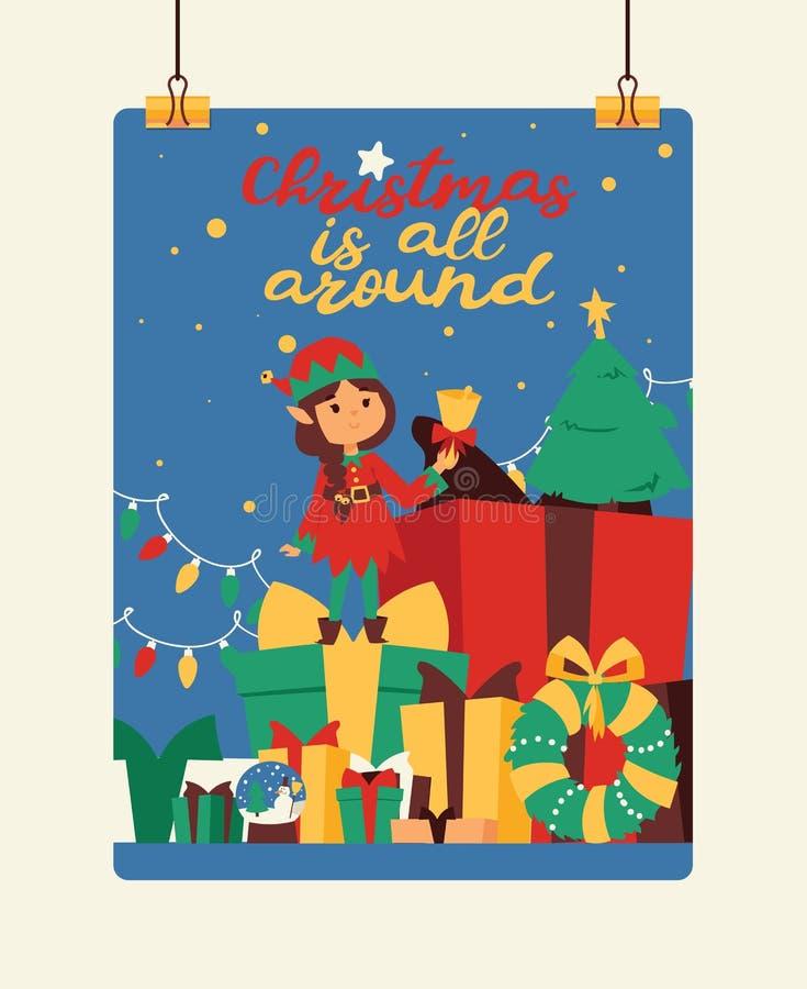 I bambini dell'illustrazione di vettore degli assistenti dei bambini dell'elfo di Santa Claus celebrano il partito di Cristmas As royalty illustrazione gratis