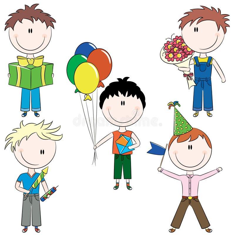 I bambini di Cheerfull fanno i desideri di buon compleanno illustrazione di stock