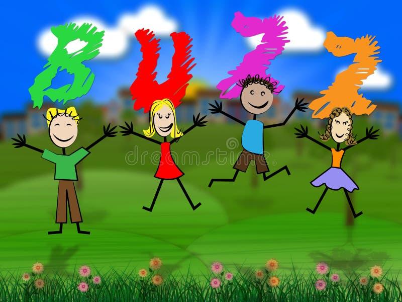 I bambini di ronzio rappresenta le pubbliche relazioni e l'eccitazione royalty illustrazione gratis
