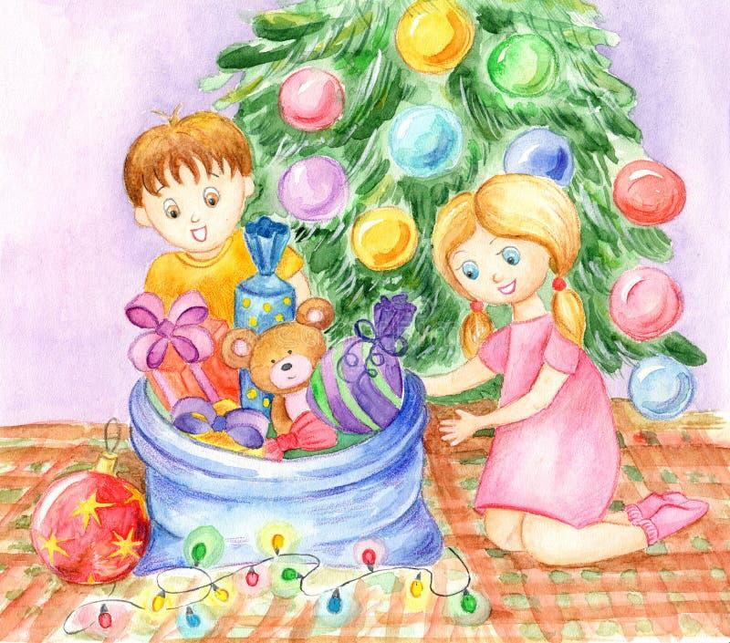 I bambini disimballano i regali di Natale illustrazione vettoriale