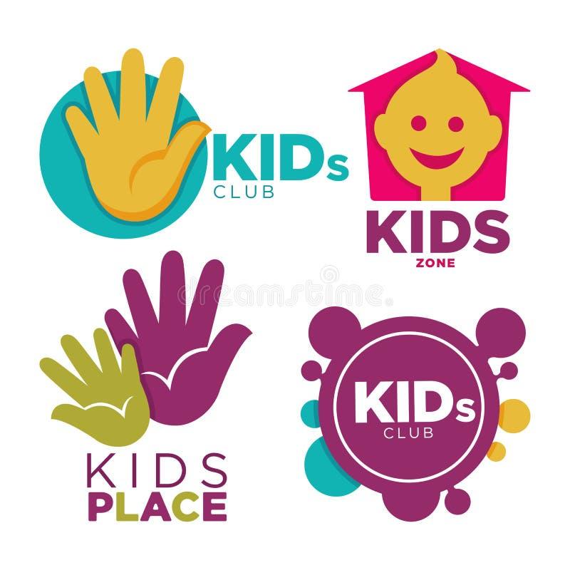 I bambini dispongono con l'illustrazione piana isolata di vettore del fumetto messa emblemi promozionali luminosi di spettacoli s illustrazione di stock