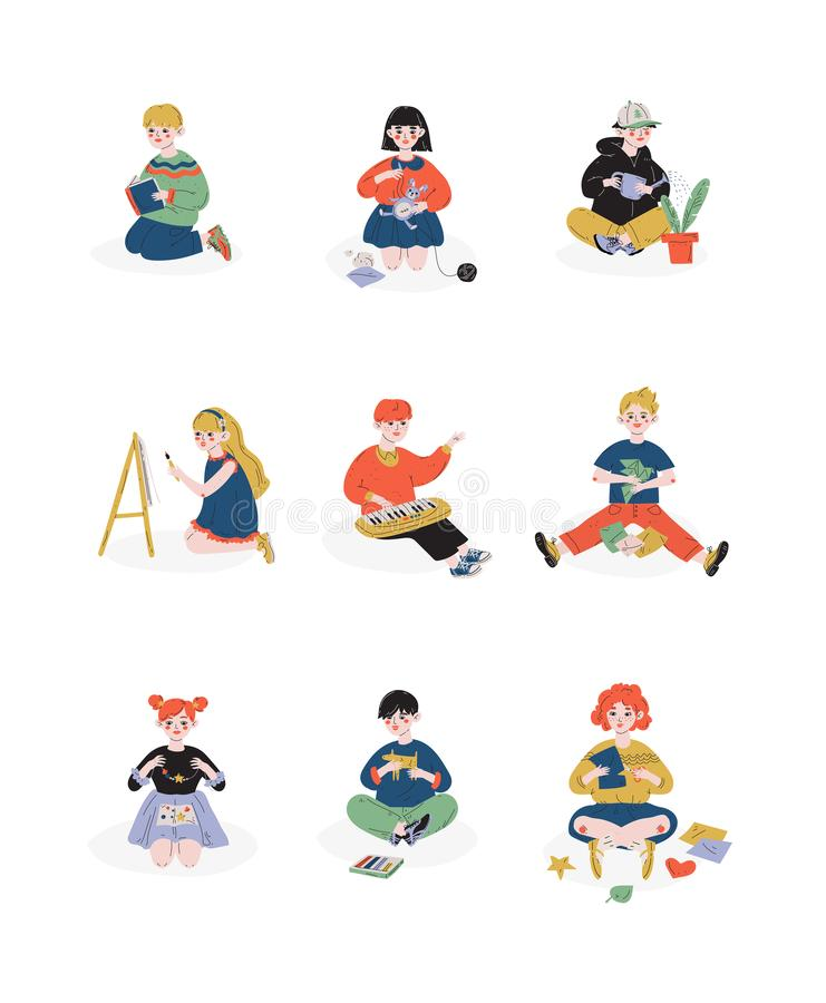 I bambini ed i loro hobby hanno messo, ragazzi e ragazze che si preoccupano per le piante, lettura, pittura, cucito, hobby, istru royalty illustrazione gratis