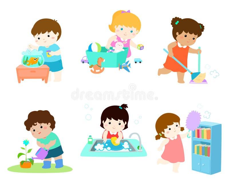 I bambini fanno l'insieme di vettore di lavoro domestico illustrazione vettoriale