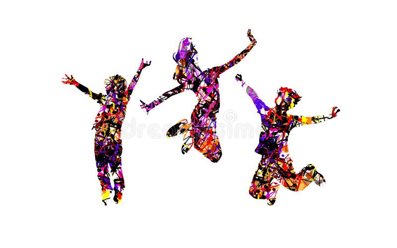 I bambini felici saltano con effetto di spruzzatura colourful immagini stock