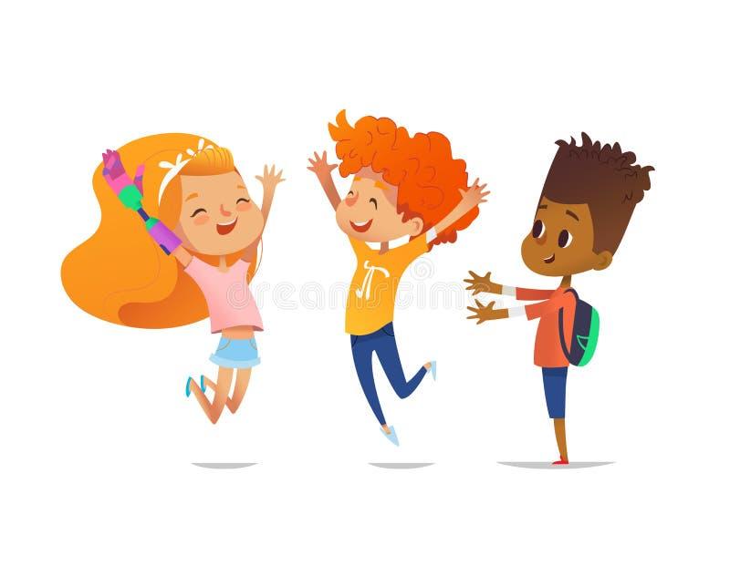I bambini felici saltano con le mani sollevate La ragazza con il braccio robot artificiale ed i suoi amici si rallegrano insieme  illustrazione vettoriale