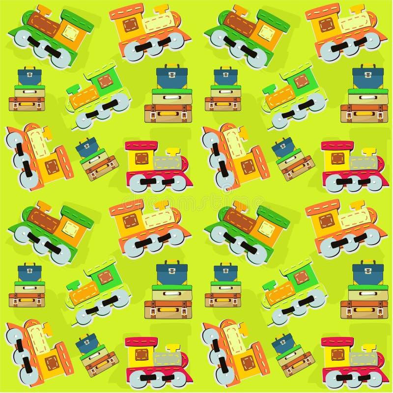 I bambini giocano il modello senza cuciture dei giocattoli dei bagagli e del treno - vettore illustrazione vettoriale