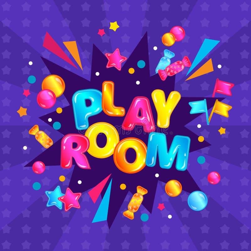 I bambini giocano la stanza - carta quadrata variopinta dell'insegna con lo scoppio dei coriandoli di divertimento ed il testo sv illustrazione di stock