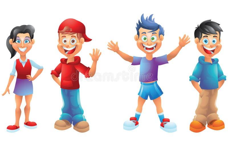 I bambini, i ragazzi e le ragazze, personaggi dei cartoni animati hanno messo 1 illustrazione vettoriale