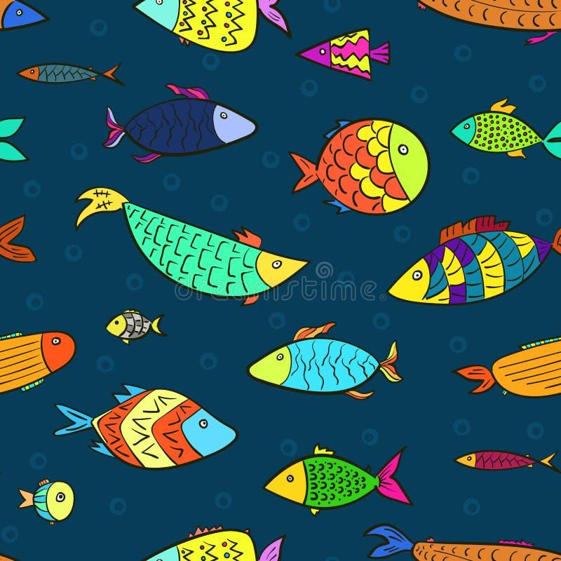 I bambini modellano con i pesci del fumetto e le bolle di aria royalty illustrazione gratis