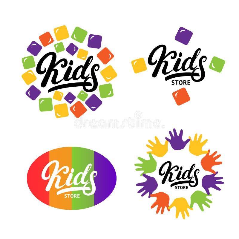 I bambini passano scritto l'iscrizione del logo con lettere, etichetta, bage, emblema royalty illustrazione gratis